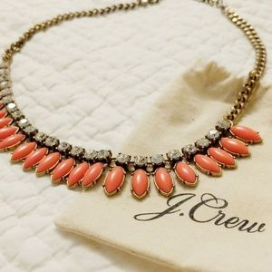 J. Crew Coral and Gold Necklace with Bling!